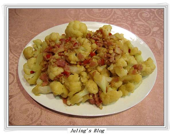 蒜香培根白花菜