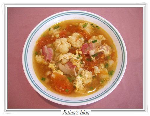 蕃茄花菜蛋花湯