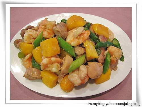 芒果炒鮮蝦雞球