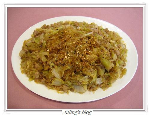 酸菜炒肉末(加白菜)