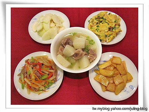 大頭菜五吃之一(大頭菜排骨湯、腐乳大頭菜、咖哩大頭菜、滑蛋大頭菜、大頭菜炒什錦)