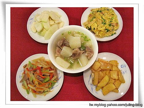 大頭菜五吃之二(大頭菜排骨湯、腐乳大頭菜、咖哩大頭菜、滑蛋大頭菜、大頭菜炒什錦)