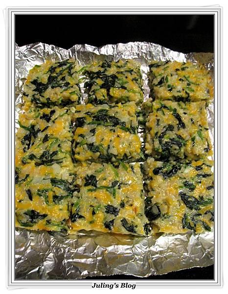 烤菠菜起司米餅做法6.JPG