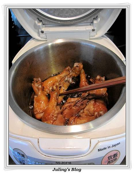 用電飯鍋做三杯雞腿做法5.jpg