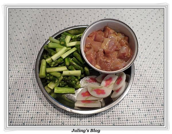 雞肉炒蘆筍做法1