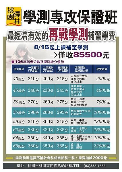 106_再戰學測收費_學測+指考分_106.7.19