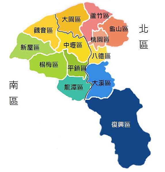 桃園行政區圖畫線分區版
