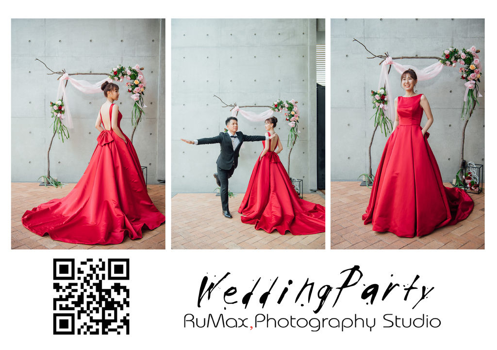 有口袋婚紗 露背禮服 紅色禮服 婚禮紀錄 rumax拍攝