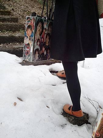提淳袋踩雪地