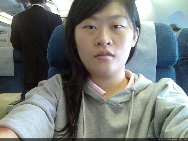 飛機上的我