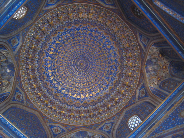 Samarkand (撒爾馬罕) Registan Square Tillya Kari Madrassah Interior of the golden gilt dome
