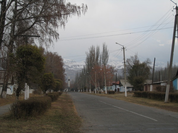 Krygzstan Karakol view of Tian Shan just from the city street