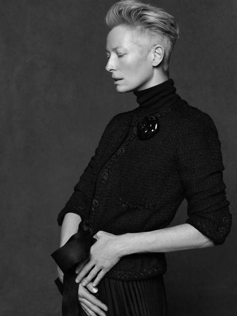 Tilda Swinton Chanel little black jacket