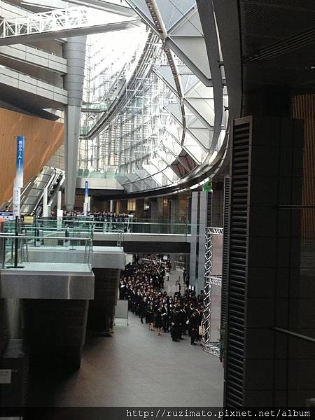 Students waiting to enter the exhibition hall