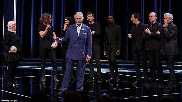 Prince Charles Hamlet quote with actors in Shakespeare gala