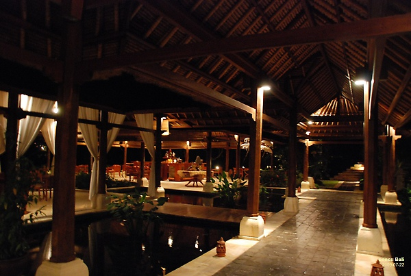 Bali Ubud Puri Wulandari night view of lounge bar
