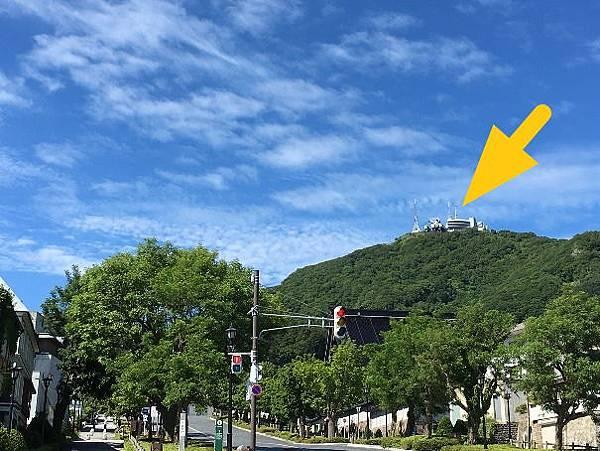 0716015-從二十間坂看函館山纜車站跟展望台by Y.JPG