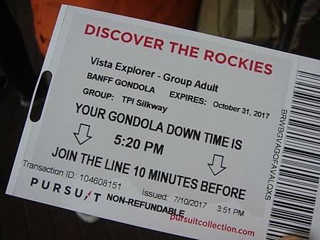 0710114-Sulphur Mountain Banff Gondola硫磺山纜車票.JPG