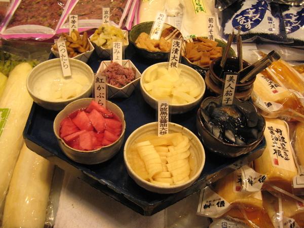 錦市場的試吃醬菜