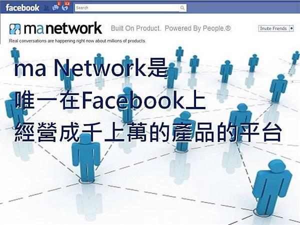 maNetwork在facebook上經營成千上萬種產品