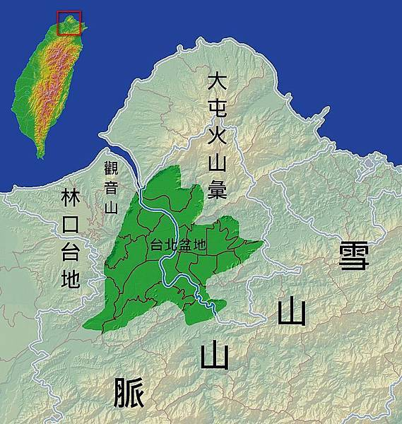 台北盆地地形圖