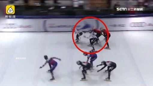 ▲南韓選手擋在紅衣的中國選手面前,阻擋交棒。(圖/翻攝自梨視頻)