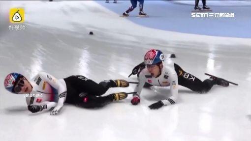 ▲▼南韓選手欲將隊友推去阻饒對手,卻雙雙慘摔在地。(圖/翻攝自梨視頻)-1