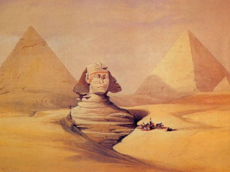 DavidRoberts-TheGreatSphinxAndPyramidsOfGizeh_1838