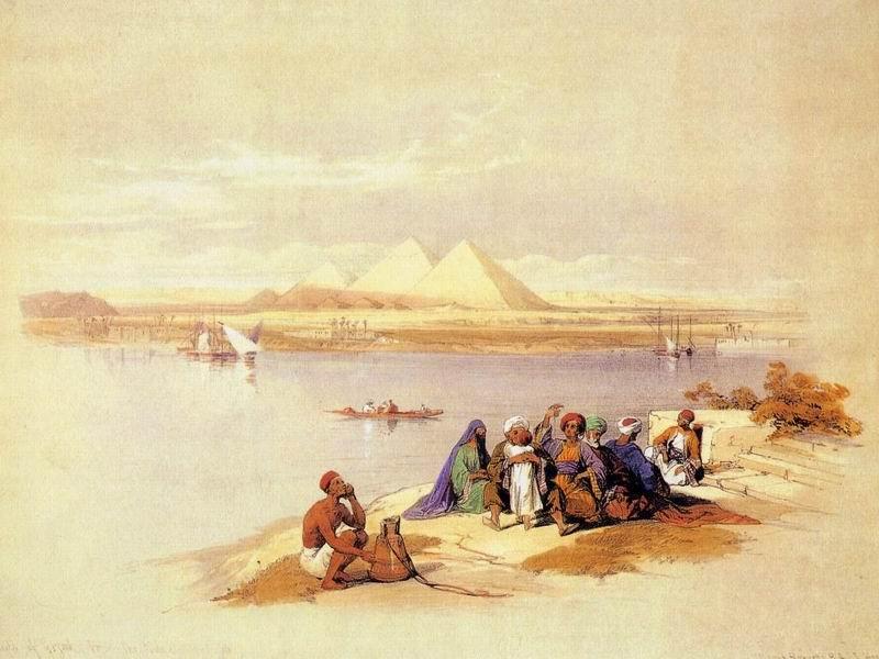 DavidRoberts-ThePyramidsOfGizehFromTheNile_1838