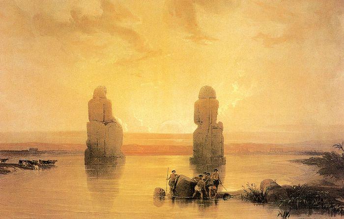 DavidRoberts-StatuesOfGurnaAtSunset_1838