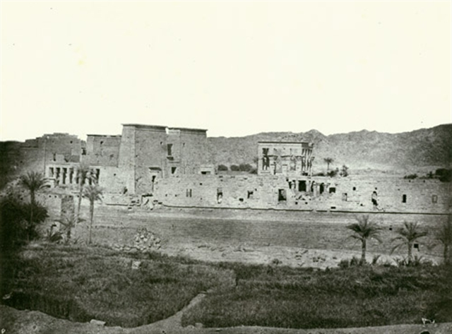 Island and temples of Philae viewed from the west, 1849