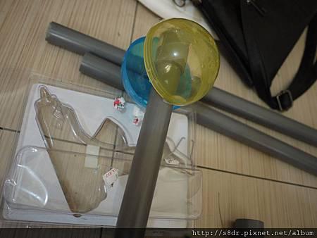 最上面的球要組合管冒與給水接頭,這樣比較好看