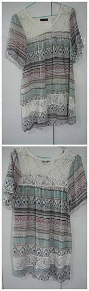 民俗風雪紡混蕾絲小洋裝