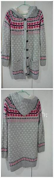 針織圖騰長版外套