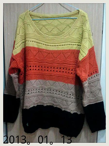 撞色針織毛衣
