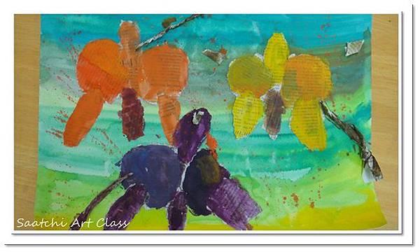 蝴蝶蘭撕貼作品 (8)