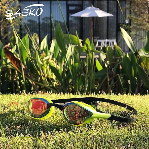 S58UV三鐵開放水域泳鏡推薦必買綠色SAEKO正光 飆速鐵人張團畯 張團團愛用