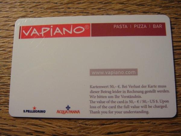 vapiano點餐卡(背面)