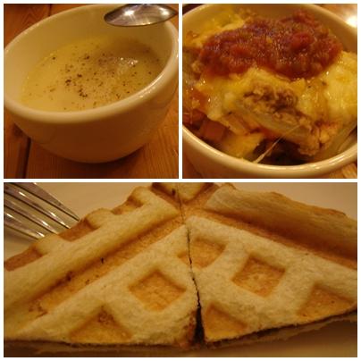 湯+馬鈴薯泥+烤吐司