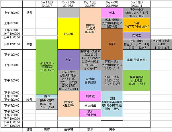 Kyushu-schedule