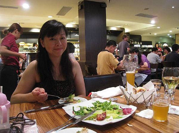 Melissa Aunty with Beer and Riesling and Salad.jpg