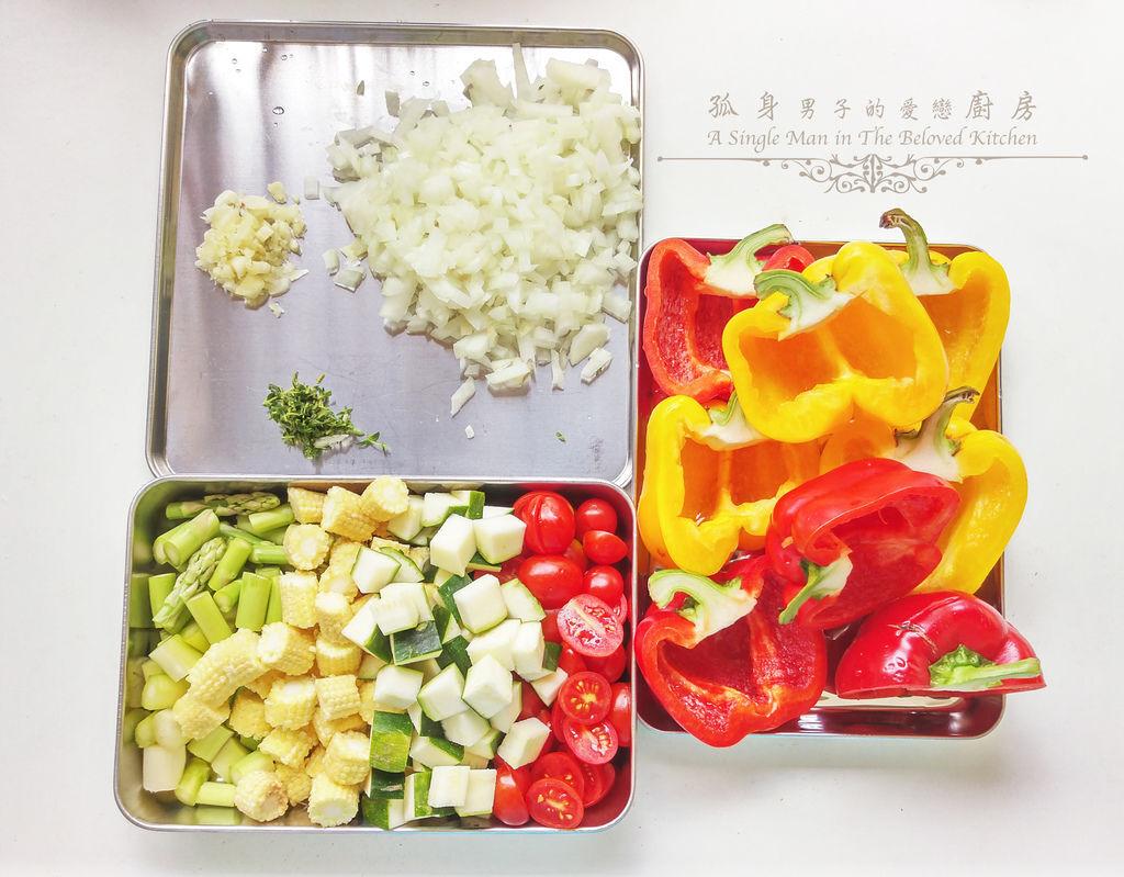 孤身廚房-烤甜椒鑲綜合蔬菜起司盅7.jpg