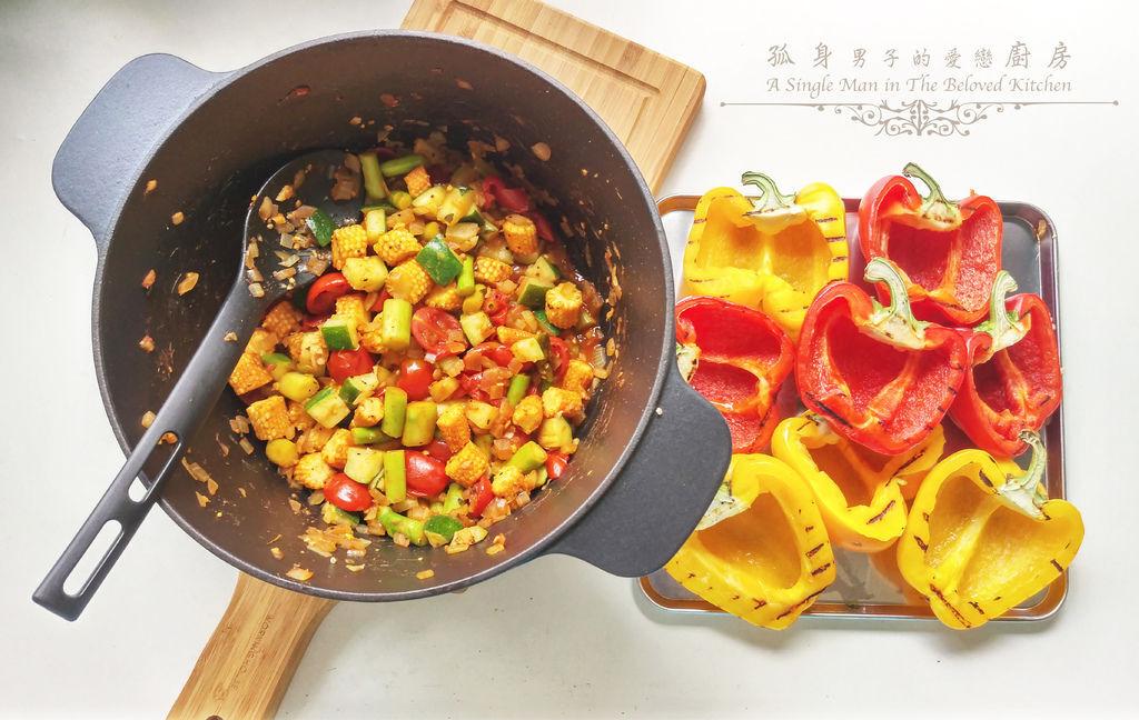 孤身廚房-烤甜椒鑲綜合蔬菜起司盅15.jpg