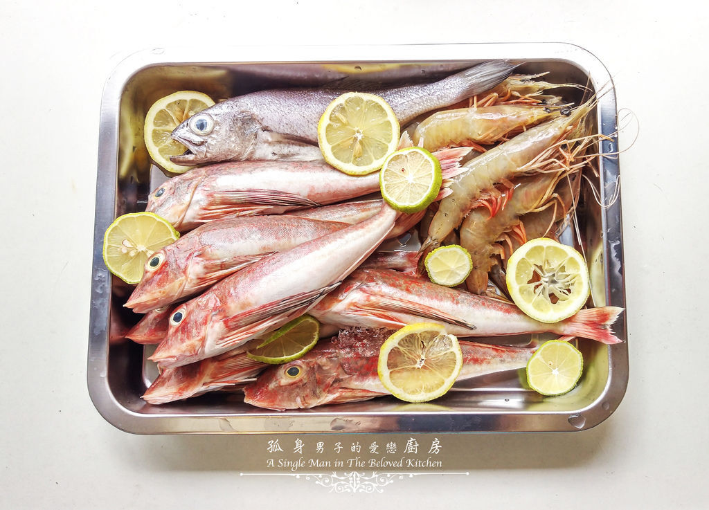孤身廚房-雞角魚、黑喉、野生紅爐蝦1