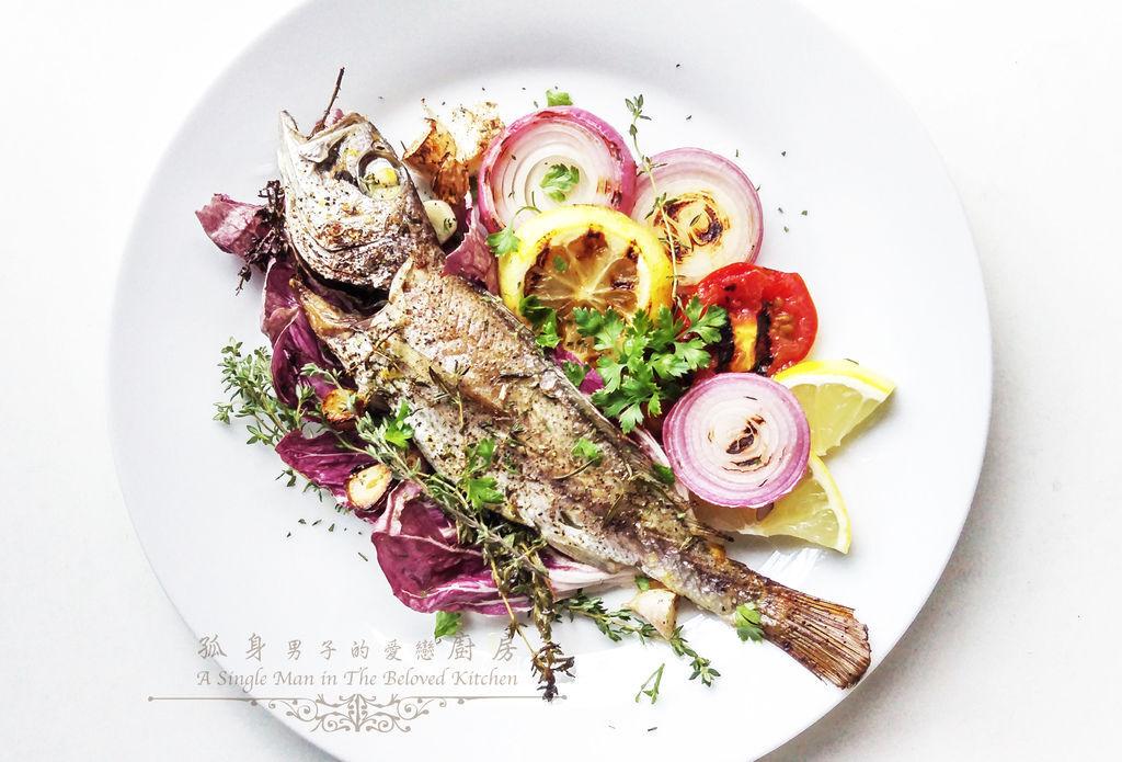 孤身廚房-地中海風味烤黑喉魚佐鑄鐵烤盤烤蔬菜1