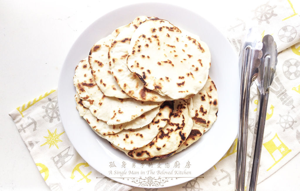 孤身廚房-墨西哥烤紅爐蝦酪梨芒果莎莎醬塔可(上)-自製麵粉版墨西哥薄餅皮Flour Tortilla1