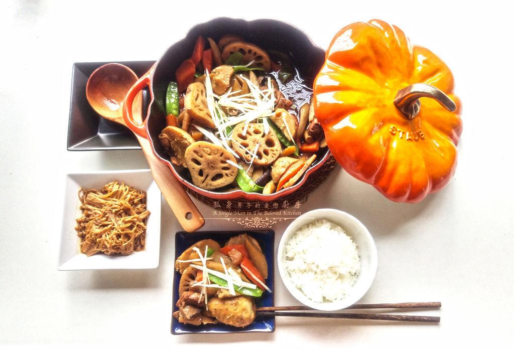 孤身廚房-食譜書《常備菜》試作——筑前煮、醬煮金針菇。甜滋滋溫暖和風味