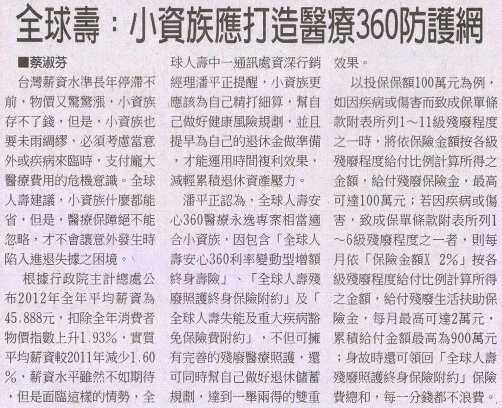 20130328[工商時報]全球壽:小資族應打造醫療360防護網