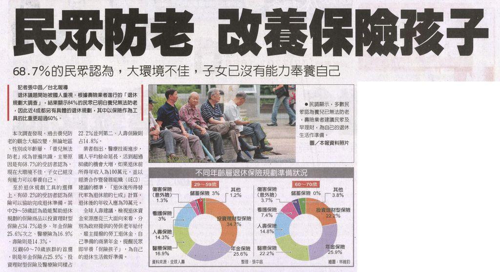 20130423[工商時報]民眾防老 改養保險孩子--68.7%的民眾認為,大環境不佳,子女已沒有能力奉養自己