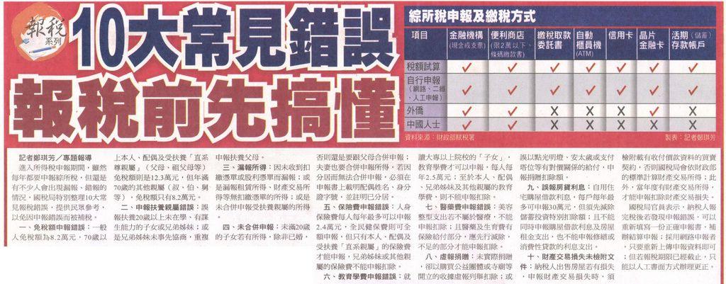 20130513[自由時報]10大常見錯誤 報稅前先搞懂